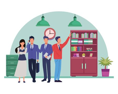 Group of business partners with business and symbols, executive entrepreneur teamwork inside office with drawers and library vector illustration graphic design.