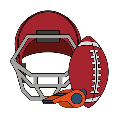 american football sport game, helmet with ball and whistle cartoon vector illustration graphic design Иллюстрация