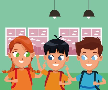 childhood cute school students happy friends wearing backpack cartoon inside classroom school interior vector illustration graphic design. 일러스트