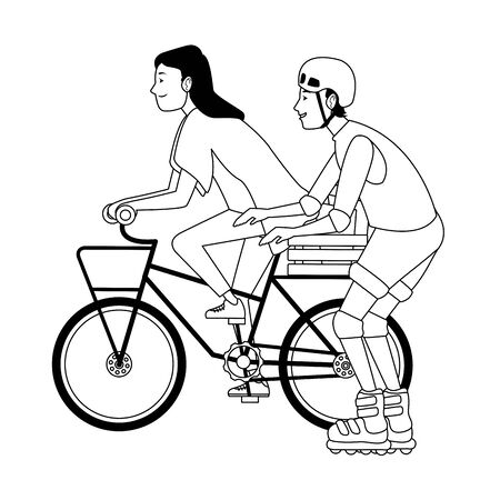 Young couple training bike and rolling skates extreme sports ,vector illustration graphic design. 向量圖像