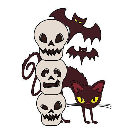 halloween october scary celebration, witch cat with skulls and bats cartoon vector illustration graphic design Illusztráció