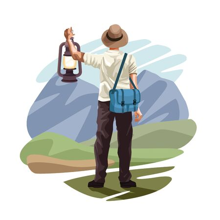 Man backpack travel with lantern and bag cartoon in the nature landscape vector illustration graphic design.