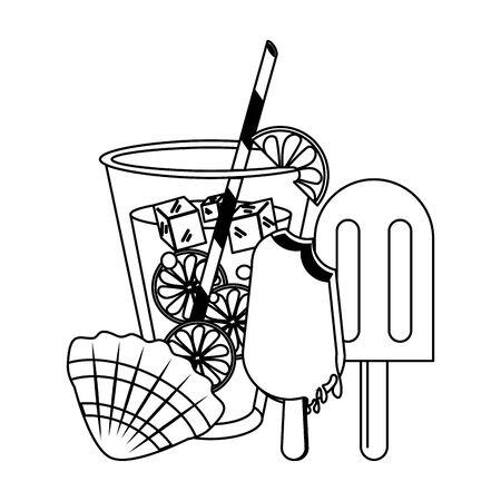 Lemonade ice cream and shell cartoons vector illustration graphic design