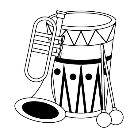 music instrument musical drum and trumpet objects cartoon vector illustration graphic design Banque d'images - 129533168