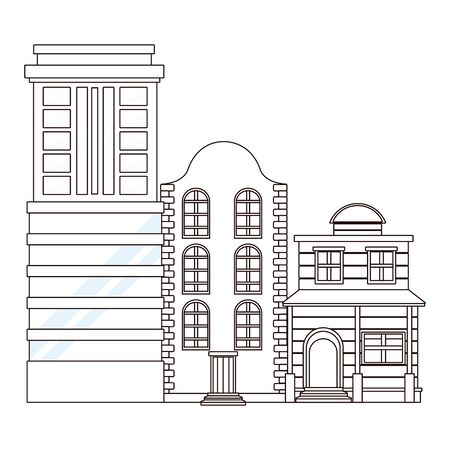 Urban buildings and city architecture, modern classics and antiques real estates edifices in black and white vector illustration graphic design. Stockfoto - 129533185