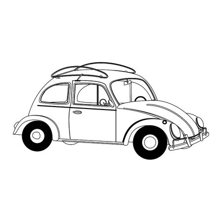 vintage retro classic car cartoon vector illustration graphic design