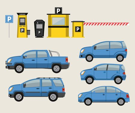 Cars and park lot with road signs icons vector illustration graphic design