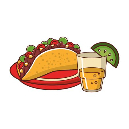 mexico culture and foods cartoons glass lemon cut on the edge and plate also taco vector illustration graphic design