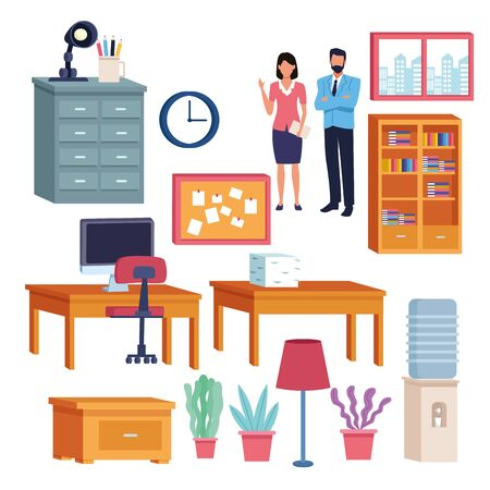 business professional executive office successful work, couple teamwork working for project idea set cartoon vector illustration graphic design Vetores