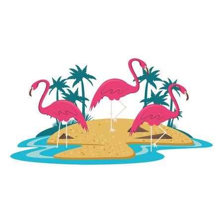 flemish on island with palms icon cartoon isolated vector illustration graphic design