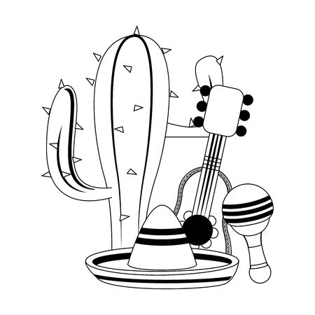 mexico culture and foods cartoons cactus and mariachi guitar and the reattle also mariachi hat vector illustration graphic design  イラスト・ベクター素材