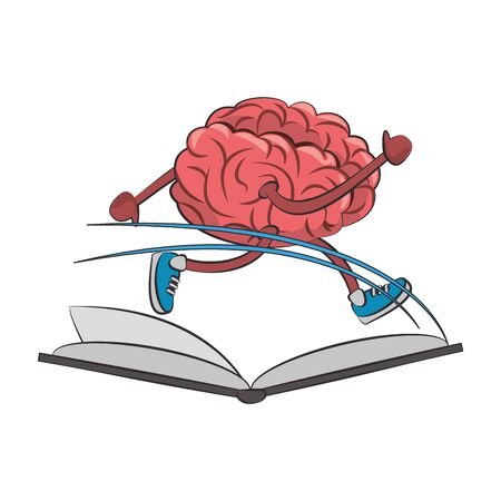 Brain running with shoes on book cartoon vector illustration graphic design