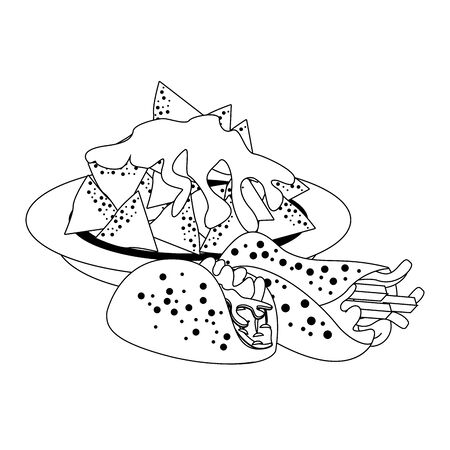 mexico culture and foods cartoons plate on nachos and melted cheese and taco also burrito vector illustration graphic design