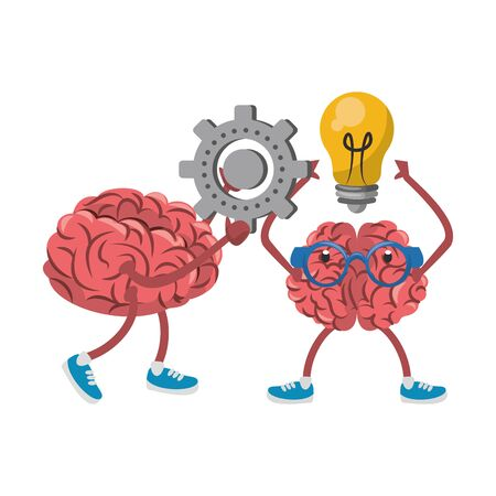 two brains with glasses holding gear and bulb light cartoon vector illustration graphic design 矢量图像