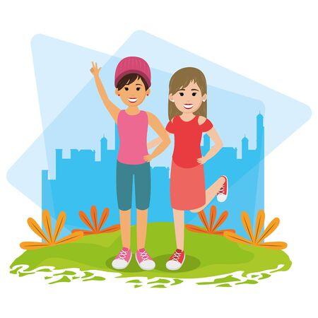 friends youth women people, women in urban park cartoon vector illustration graphic design Stock Illustratie
