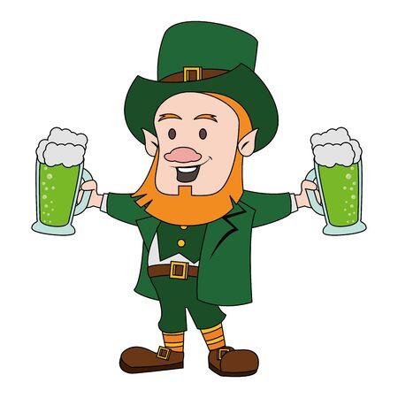 saint patricks day irish tradition green leprechaun with green beer glasses cartoon vector illustration graphic design