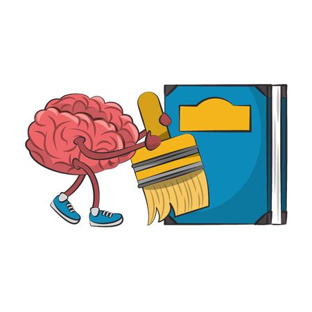 Brain with paint brush and book cartoons vector illustration graphic design