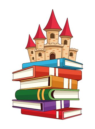 fantasy book with stories character showing some stacked books with a castle on top vector illustration graphic design