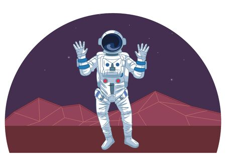 space exploration astronaut with hands up with retro futuristic mountain landscape icon cartoon vector illustration graphic design