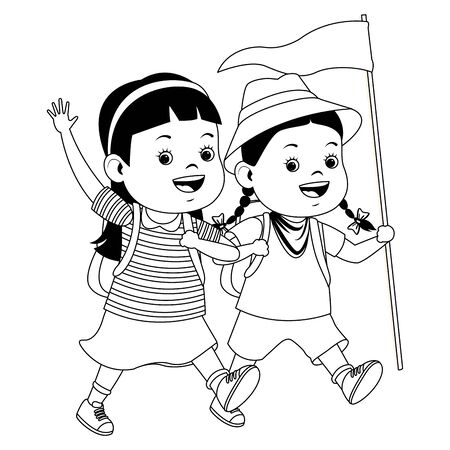 Two kids with camping backpacks and flag ready to summer camp ,vector illustration graphic design.