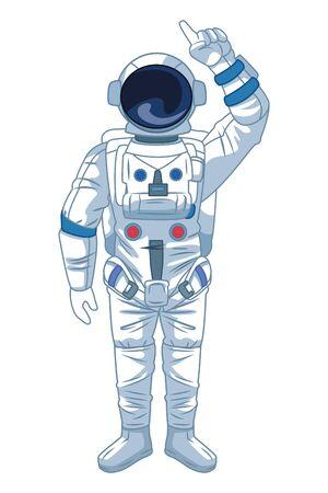 space exploration astronaut pointing up icon cartoon vector illustration graphic design Stock Illustratie