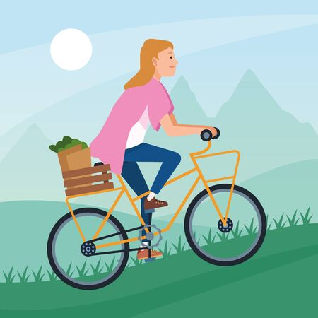 sport outdoor sportive bicycle ride activity, woman riding and climbing mountain cartoon vector illustration graphic design