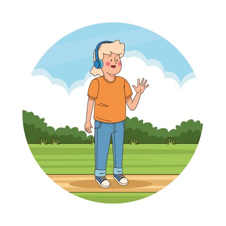 Teenager boy with headphones in the park scenery vector illustration graphic design
