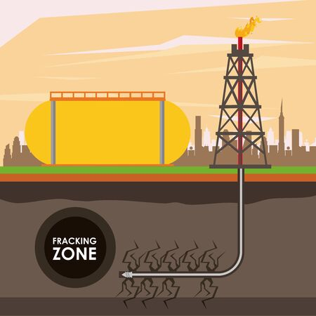 Fracking zone, oil pump with tank extracting petroleum from suboil with pipes. vector illustration graphic design Ilustração