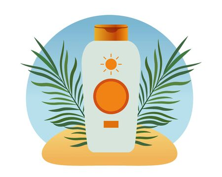 Sun bronzer product with tropical leaves cosmetic product on beach scenery background with palms ,vector illustration graphic design.
