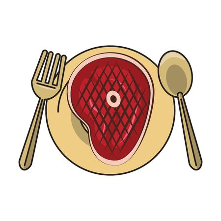 Barbecue food steak in dish with fork and knife vector illustration graphic design 일러스트