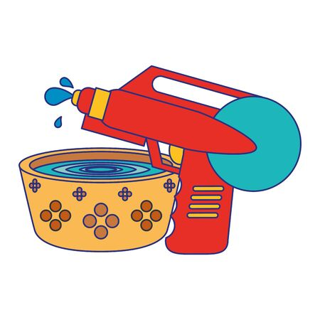 Water pot and handgun pistol toy cartoon vector illustration graphic design 版權商用圖片 - 129573213