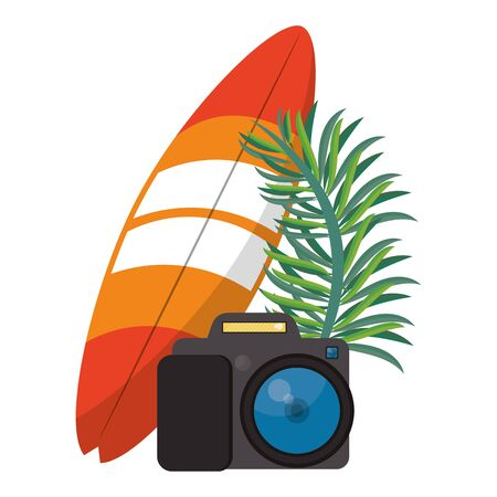 Summer and beach vacations surf table camera and leaf cartoons vector illustration graphic design