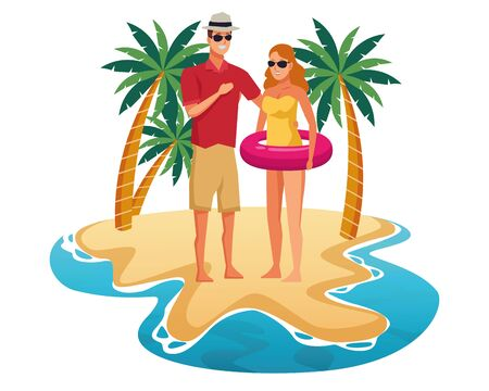 Young couple enjoying summer in swimsuit with float in beach at sunny day scenery isolated vector illustration