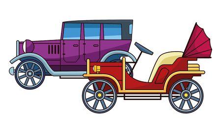 Auto d'epoca e d'epoca veicoli d'epoca illustrazione vettoriale graphic design.