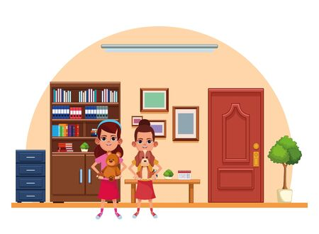 two young little kids girl carrying a dog and girl carrying teddy toy avatar carton character indoor in house background vector illustration graphic design