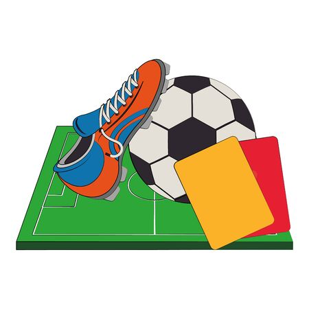 Soccer football sport game ball and boot with referee card on playfield vector illustration graphic design Illusztráció