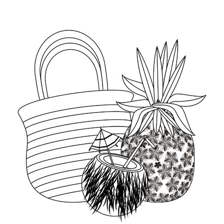 summer beach and vacation with pineapple, coconut beverage, beach bag icon cartoons in black and white vector illustration graphic design