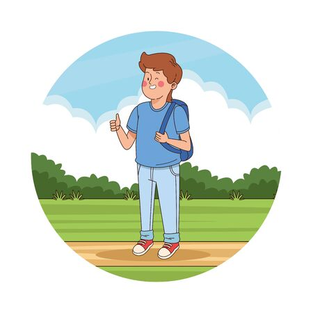 Teenager boy with backpack and thumb up in the park scenery round icon vector illustration graphic design