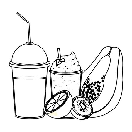 tropical fruit and smoothie drinks with kiwi, orange and papaya icon cartoon in black and white vector illustration graphic design