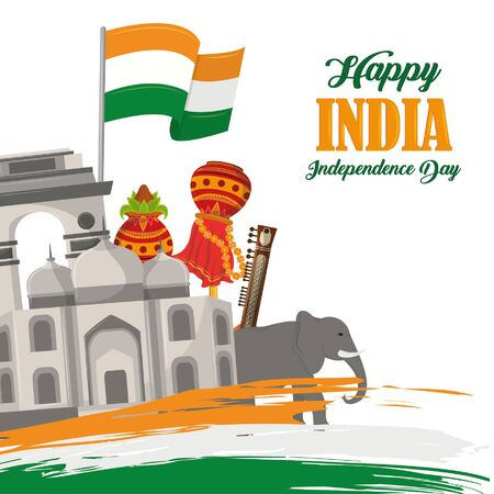 India independence day card with patriotic monuments and emblems, poster holiday vector illustration graphic Stock Illustratie