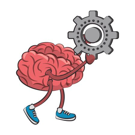 Brain with gear and shoes cartoon vector illustration graphic design