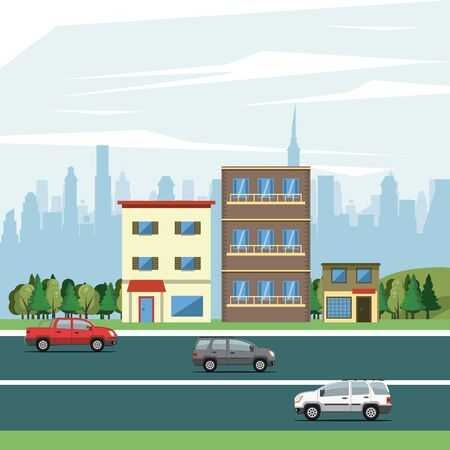 Urban buildings with cars passing on street cityscape scenery vector illustration graphic design