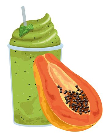 tropical fruit and smoothie drink with papaya icon cartoon vector illustration graphic design