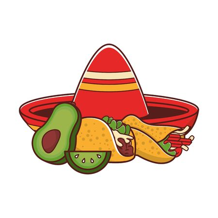 mexico culture and foods cartoons mariachi hat and lemon cut also burrito and taco also avocado vector illustration graphic design