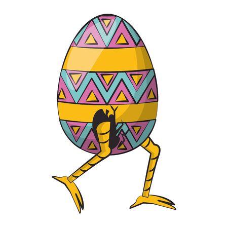 easter happy tradition spring celebration chicken egg cartoon vector illustration graphic design