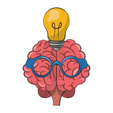 Brain with glasses and bulb light cartoon vector illustration graphic design Stock fotó - 129574598