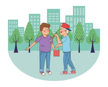 teenager friends with paint bucket and brush in the city, urban scenery background vector illustration graphic design.