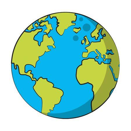 world map earth globe isolated cartoon vector illustration graphic design