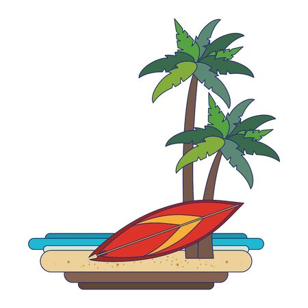 Summer beach with surf table and palms cartoons vector illustration graphic design Stock Illustratie