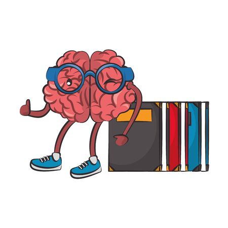 Brain with glasses and books cartoons vector illustration graphic design Illusztráció